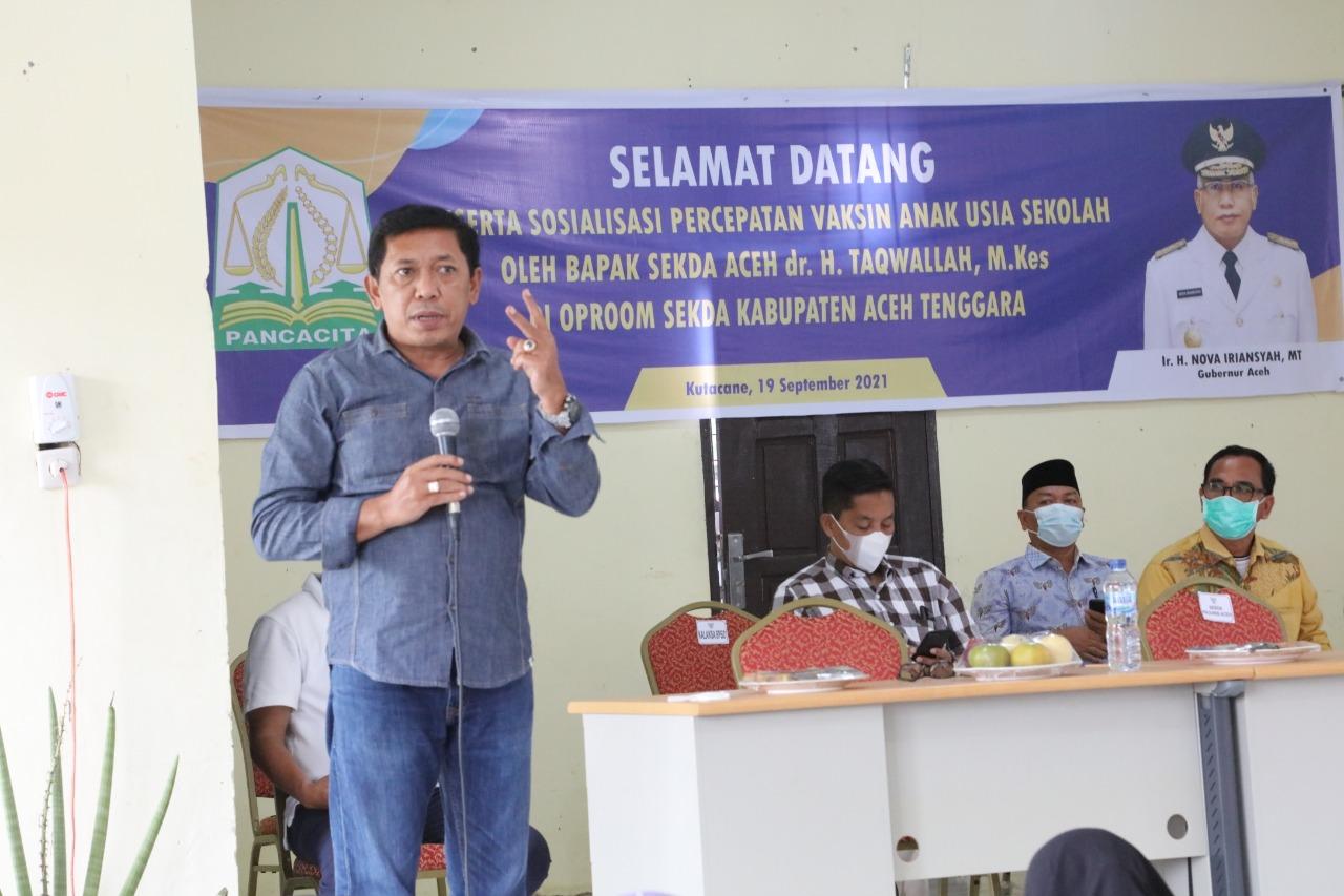 Kadisdik Aceh Ultimatum Kepala Sekolah Agar Lakukan Vaksinasi Siswa